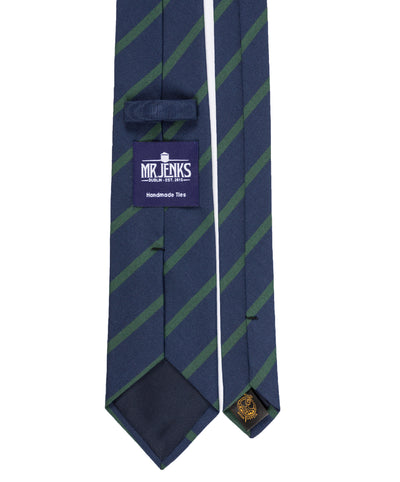 Royal Irish Poplin Navy and Green Striped Tie - Mr. Jenks
