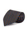Navy and Orange Floral Silk Tie - Mr. Jenks