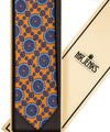 Classic Orange & Blue Medallion Silk Tie - Mr. Jenks
