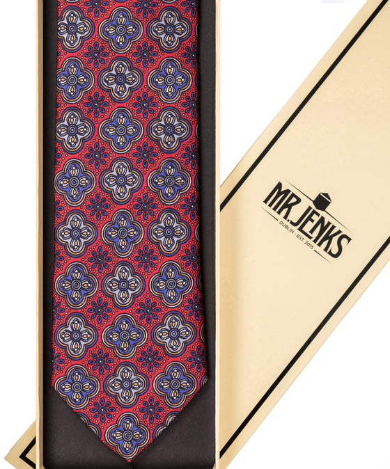 Classic Ornamental and Floral Red Silk Tie