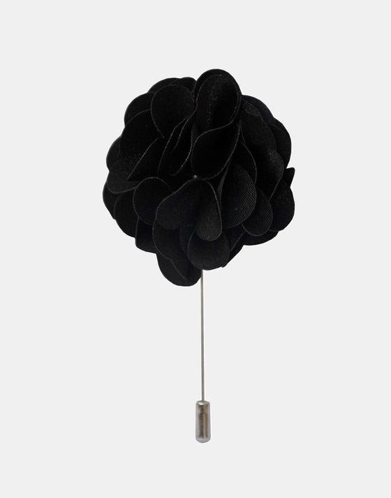 Black Petaled Flower Lapel Pin - Mr. Jenks