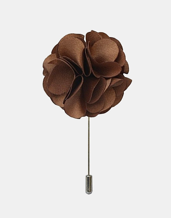 Brown Petaled Flower Lapel Pin - Mr. Jenks