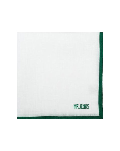 White and Green Bordered Linen Pocket Square