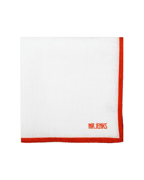 White and Red Bordered Linen Pocket Square