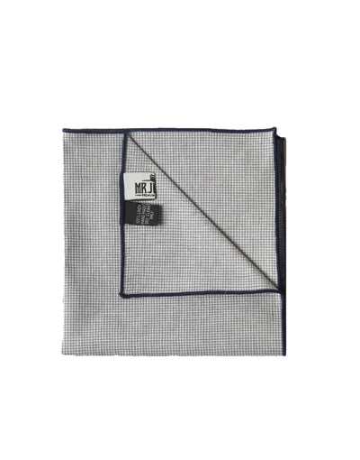 Navy and Grey Houndstooth Linen Pocket Square - Mr. Jenks
