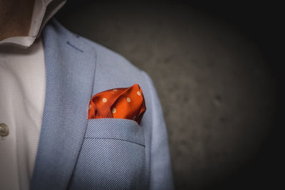 Orange and Cream Large Polka Dot Silk Pocket Square - Mr. Jenks - 3