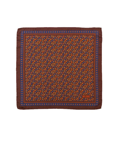 Brown and Navy Small Paisley Silk Pocket Square - Mr. Jenks