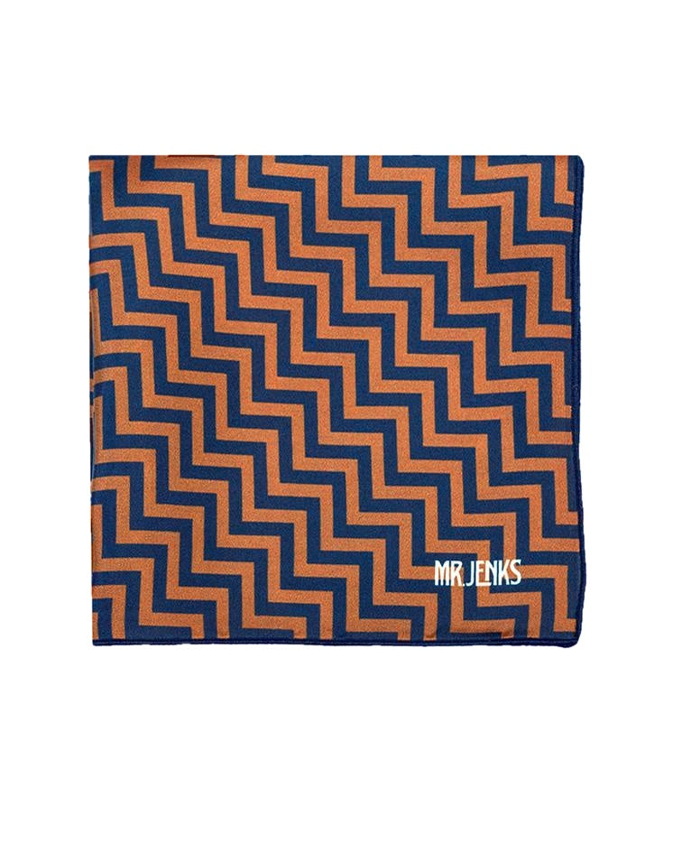 Pocket Squares - Brown And Navy Zig Zag Silk Pocket Square