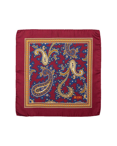 Classic Burgundy and Blue Paisley Silk Pocket Square - Mr. Jenks