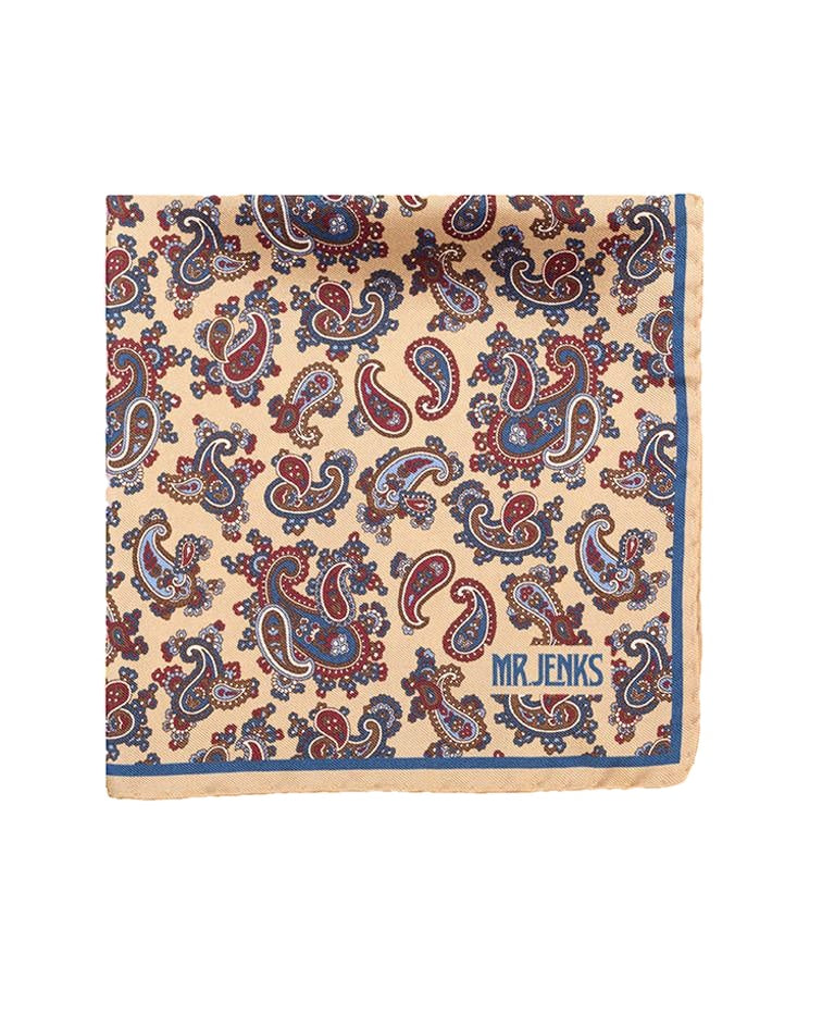 Pocket Squares - Cream And Navy Paisley Silk Pocket Square