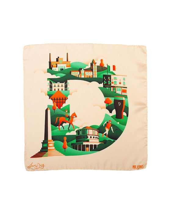 D For Dublin Silk Pocket Square
