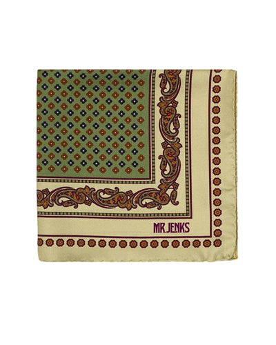 Classic Green and Burgundy Silk Pocket Square - Mr. Jenks