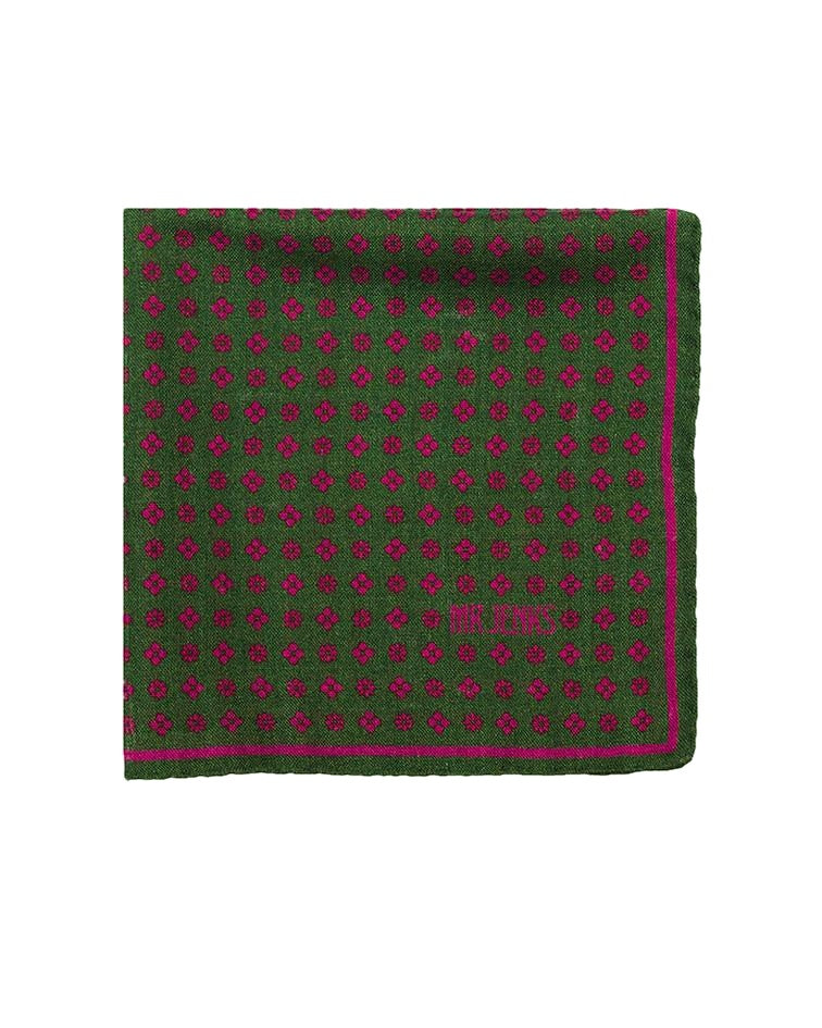 Pocket Squares - Green And Fuchsia Floral Wool/Silk Pocket Square
