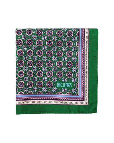 Green and Pink Medallion Silk Pocket Square - Mr. Jenks