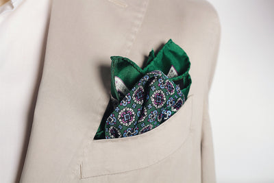Pocket Squares - Green And Pink Medallion Silk Pocket Square