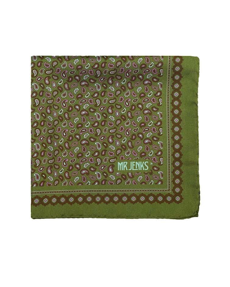 Pocket Squares - Green And Purple Small Paisley Silk Pocket Square