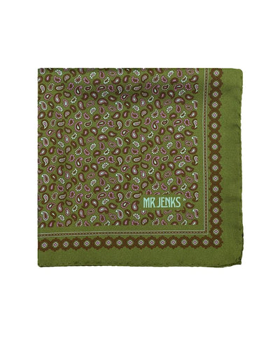 Green and Purple Small Paisley Silk Pocket Square - Mr. Jenks