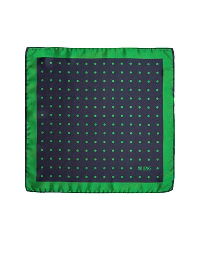 Classic Navy and Green Large Polka Dot Silk Pocket Square - Mr. Jenks