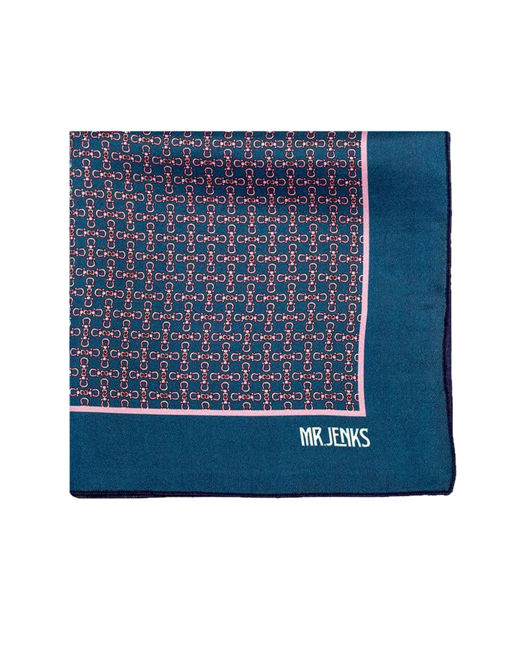 Pocket Squares - Navy And Pink Chained Silk Pocket Square