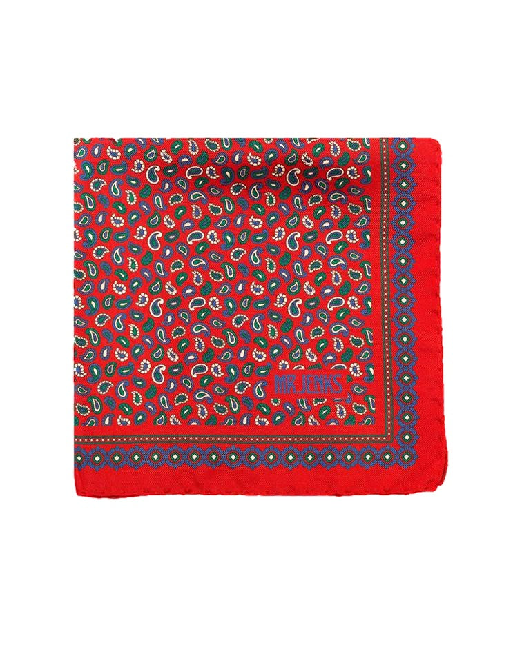 Pocket Squares - Navy And Red Small Paisley Silk Pocket Square