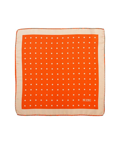 Classic Orange and Cream Large Polka Dot Silk Pocket Square - Mr. Jenks