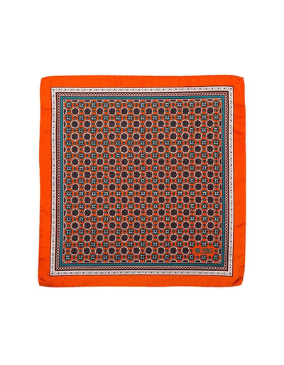 Orange and Teal Medallion Silk Pocket Square - Mr. Jenks
