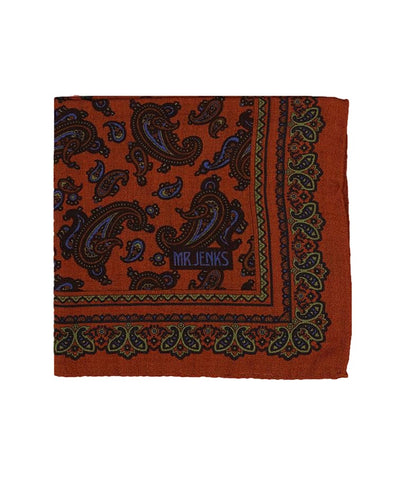Orange Paisley Wool/Silk Pocket Square - Mr. Jenks