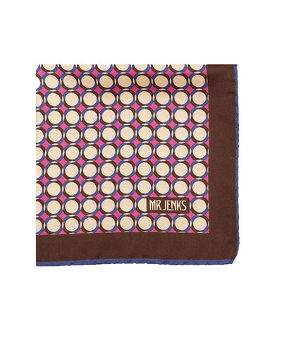 Purple and Blue Geometric Circle Silk Pocket Square - Mr. Jenks