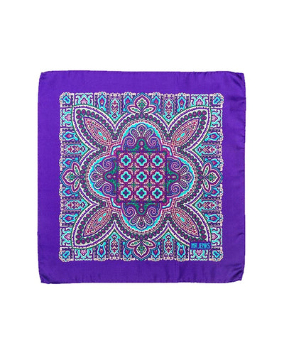 Purple and Turquoise Ornamental Silk Pocket Square - Mr. Jenks