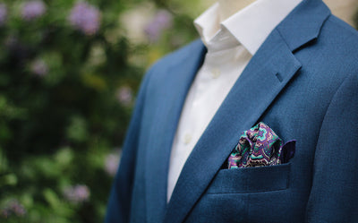 Pocket Squares - Purple And Turquoise Ornamental Silk Pocket Square