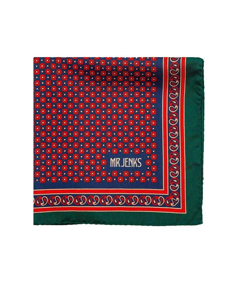 Pocket Squares - Red And Green Floral Silk Pocket Square
