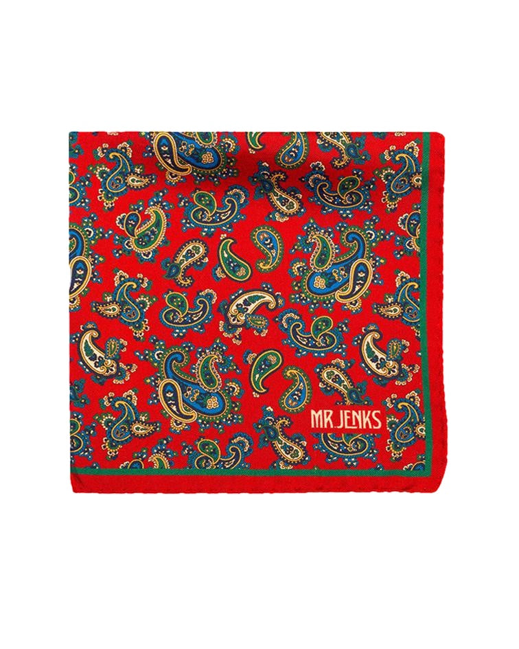 Pocket Squares - Red And Green Paisley Silk Pocket Square