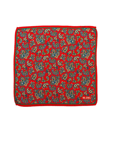 Red and Green Paisley Silk Pocket Square - Mr. Jenks