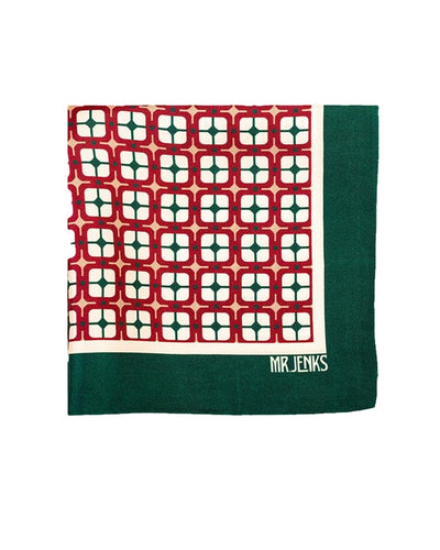 Red and Green Squared Silk Pocket Square - Mr. Jenks