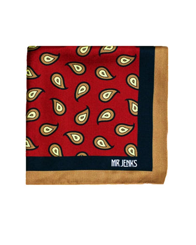 Red and Navy Large Paisley Silk Pocket Square - Mr. Jenks