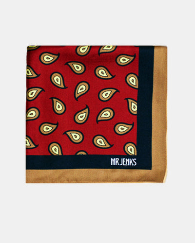 Pocket Squares - Red And Navy Large Paisley Silk Pocket Square