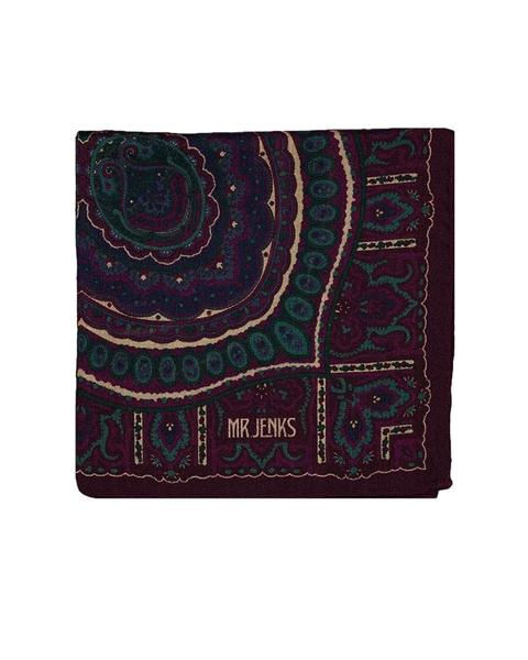 Classic Violet Paisley Wool/Silk Pocket Square