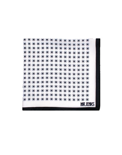 White and Black Circle Silk Pocket Square - Mr. Jenks