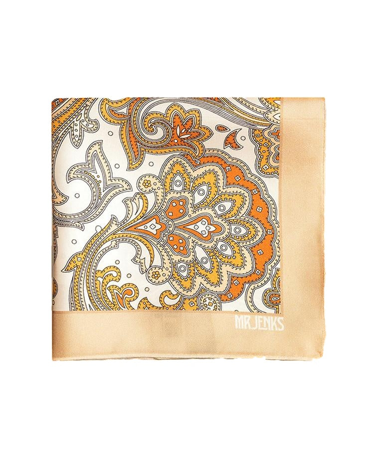 Pocket Squares - White And Gold Paisley Silk Pocket Square