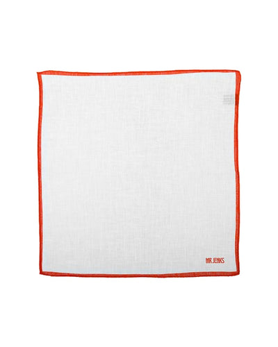 White and Red Bordered Linen Pocket Square - Mr. Jenks