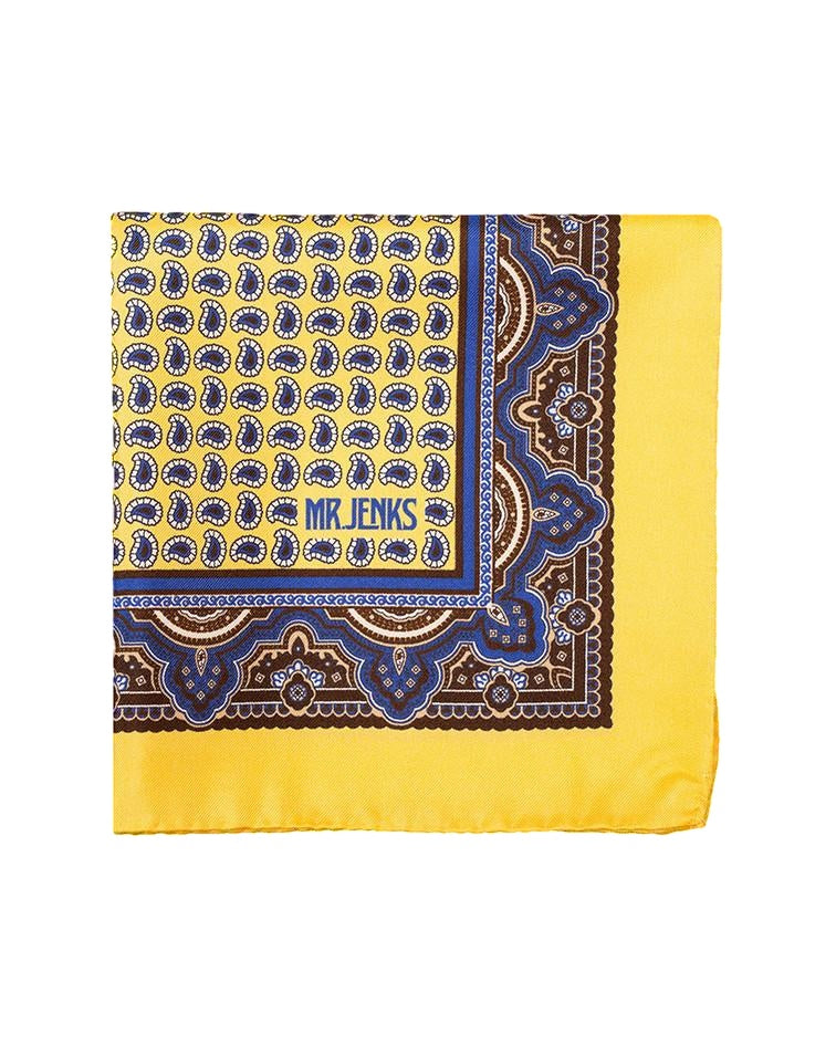 Pocket Squares - Yellow And Blue Paisley Silk Pocket Square