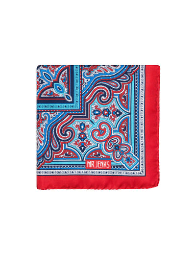 Blue and Red Ornamental Pocket Square - Mr. Jenks