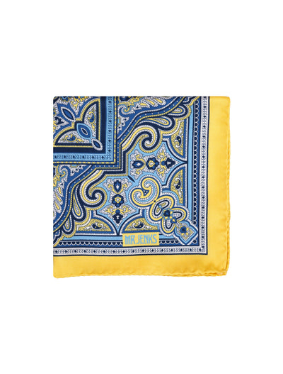 Blue and Yellow Ornamental Pocket Square - Mr. Jenks