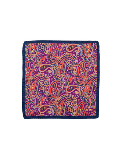Navy and Purple Large Paisley Pocket Square - Mr. Jenks