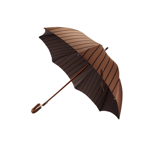 Light and Dark Brown Striped Umbrella - Mr. Jenks - 1