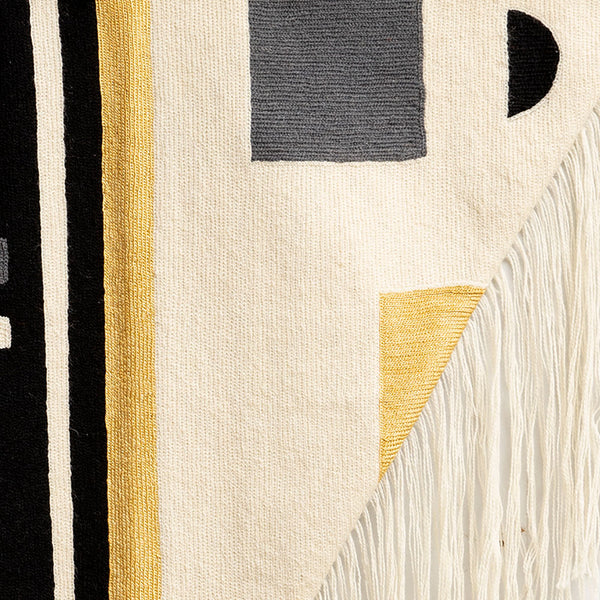 BLACK+WHITE FRINGE TAPESTRY