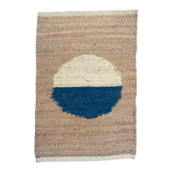 MARGEAUX BLUE + WHITE CIRCLE JUTE RUG