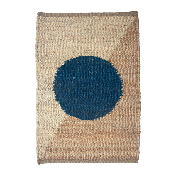 MARGEAUX BLUE CIRCLE JUTE RUG
