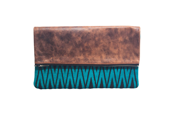 Turquoise Geometric Clutch