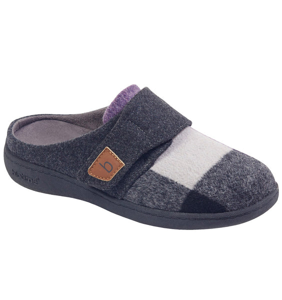 """BIOTIME"" Women's Amity Slipper (Purple/Grey Plaid) (4282807287898)"